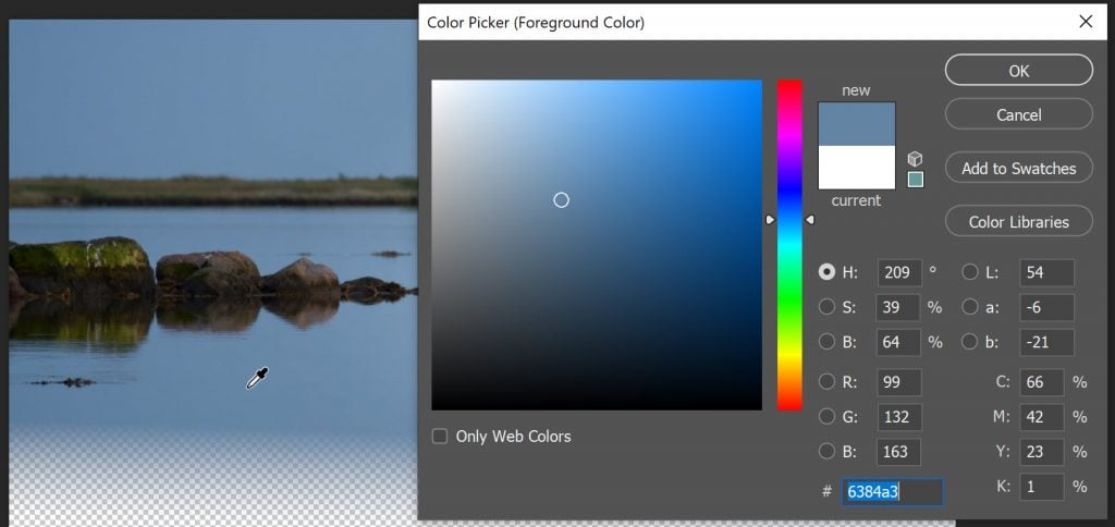 use the color picker to select a background color
