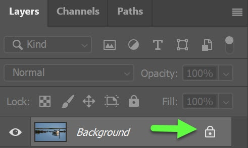 Unlock background layer in PS